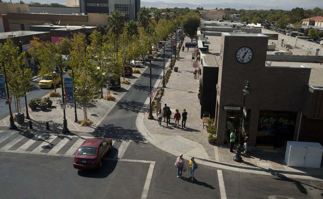 The redesign of Lancaster Boulevard helped transform downtown Lancaster, CA into a thriving residential and commercial district